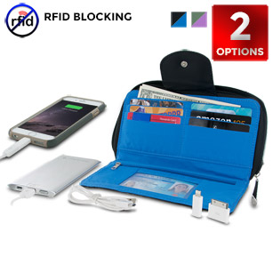 Stylish Clutch Wallet with RFID Protection and Power Pack