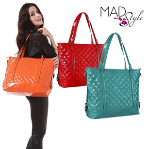 Mad Style Patent Leather Quilted Tote