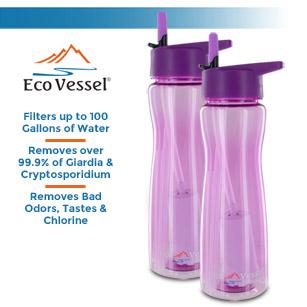 Eco Vessel Ultra Lite Tritan 25oz Filtration Bottle - 100 Gal. Filter