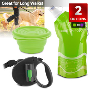 Retractable Leash with Pick-up Bags, Travel Water Bottle and Bowl
