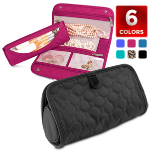 Travelon Jewelry and Cosmetic Clutch with Removable Center Pouch