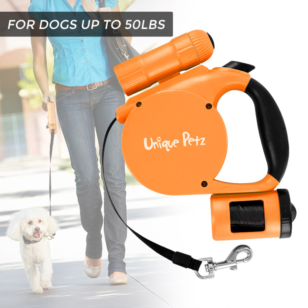 Unique Petz 3-in-1 Retractable Leash With Pick-up Bags and Light
