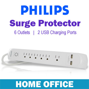 Philips Home Office Surge Protector with 6 Outlets, 2-USB Charging Ports