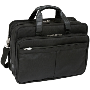 "McKleinUSA Walton R Series 73985 Expandable Double Compartment Laptop Case - Shoulder Strap, Hand Strap17"" Screen Support - 13"" x 17.5"" x 10"" - Nylon - Black"
