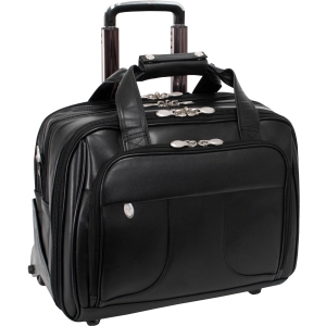 McKleinUSA Chicago R Series 83585 Detachable-Wheeled Laptop Overnight with Removable Brief - Shoulder Strap, Hand Strap, Handle17&quot; Screen Support - 13&quot; x 17&quot; x 11&quot; - Leather - Black