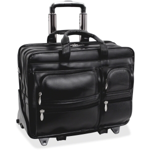 "McKleinUSA Clinton P Series 88445 Detachable-Wheeled Laptop Case - Shoulder Strap, Hand Strap, Handle17"" Screen Support - 13"" x 17.5"" x 7"" - Leather - Black"