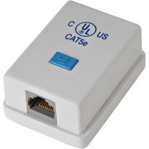 Steren Cat. 5E 1-Port Surface Jack - 1 x RJ-45 Female - 1 x 110 - White