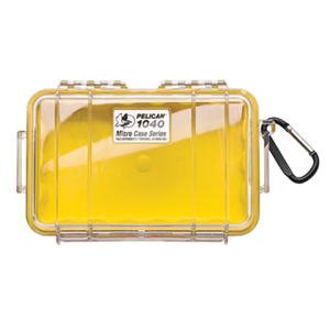 "Pelican 1040 Micro Case with Yellow Liner - 5.06"" x 2.12"" x 7.5"" - Clear"