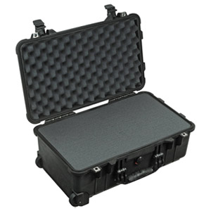 "Pelican 1510 Shipping Box with Foam - Internal Dimensions: 11"" Width x 7.60"" Depth x 19.75"" Length - External Dimensions: 13.8"" Width x 9.0"" Depth x 22.0"" Length - Rubber, Polyurethane, Steel - Black"