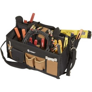 "Steren 15 Pocket Tool Bag with 16"" Center Tray Compartment - 10"" x 11"" x 16"" - Fabric - Black, Brown"