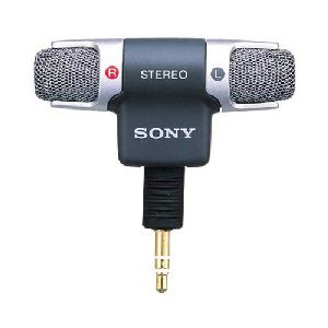 Sony ECM-DS70P Stereo Microphone - Electret - Detachable - 100Hz to 15kHz - Cable - Silver