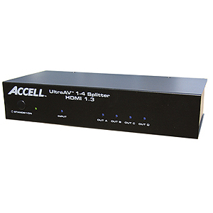 Accell UltraAV 1x4 HDMI Audio/Video Splitter - 1 x HDMI USB, 4 x HDMI USB