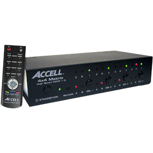 Accell UltraAV 4x4 HDMI Matrix Switch - 4 x HDMI Audio/Video In, 4 x HDMI Audio/Video Out, 1 x DB-9 Control, 1 x USB