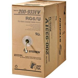 Steren RG6/U Coaxial Drop Cable - 1000ft - Black