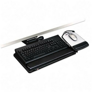 """3M Lever-Free Adjustable Keyboard/Mouse Tray - 26.5"""" Width x 10.5"""" Depth - Black"""