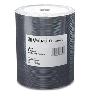 Verbatim DataLife Plus 52x CD-R Media - Printable - 700MB - 120mm Standard - 100 Pack