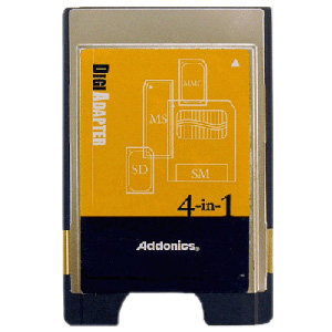 Addonics 4-in1 Digi Adapter - Secure Digital (SD) Card, MultiMediaCard (MMC), SmartMedia Card (SM), Memory Stick