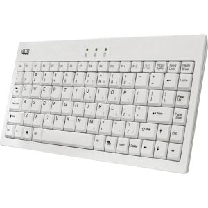 Adesso EasyTouch AKB-110W Mini Keyboard - USB, PS/2 - 87 Keys - White