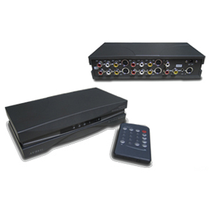 Araneus AVS-41I 4-Way A/V Selector - TV, VCR, DVD Player, Laser Disc Player, Camcorder, Cable Box, Home Theater, Satellite Receiver, Video Game Console, Speaker Compatible - 4 x Composite Video In, 4 x S-Video In, 4 x RCA Stereo Audio Line In, 1 x Composi