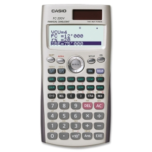 "Casio Financial Calculator w/ Direct Mode Key - 4 Line(s) - 12 Character(s) - Dot Matrix - Solar, Battery Powered - 3.17"" x 6.33"" x 0.44"" - Silve"