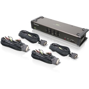 IOGEAR GCS1104 KVM Switch - 4 x 1 - 4 x DVI-I Video, 4 x Microphone, 4 x Audio, 4 x Type B USB