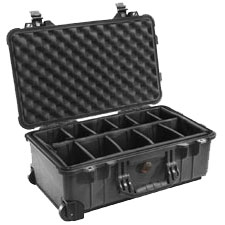 "Pelican Medium Carry On Case with Padded Divider - 13.82"" x 9"" x 22"" - Black"