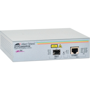 Allied Telesis AT-PC2002/POE Gigabit Ethernet Media Converter - 1 x RJ-45 - 10/100/1000Base-T - 1 x SFP - External