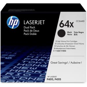 HP 64X Dual-Pack Toner Cartridge - Black - Laser - 24000 Page - 2 / Pack