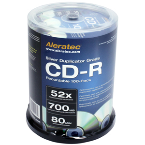Aleratec CD Recordable Media - CD-R - 52x - 700 MB - 100 Pack Spindle - 120mm1.33 Hour Maximum Recording Time