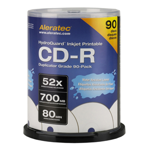 Aleratec LightScribe 52x CD-R Media - 700MB - 120mm Standard - 90 Pack Spindle