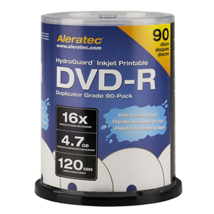 Aleratec 16x DVD-R Media - 4.7GB - 120mm Standard - 90 Pack Spindle