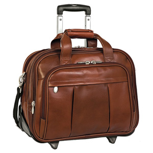 "McKlein USA Damen Leather Wheeled 17"" Laptop Case (Brown)"