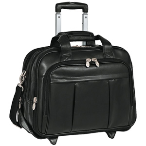 "McKlein USA Damen Leather Wheeled 17"" Laptop Case (Black)"