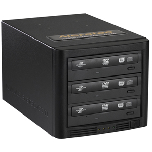 Aleratec 1:3 CD/DVD Duplicator with LightScribe - Standalone - DVD-Writer - 20x DVD+R, 20x DVD-R, 8x DVD+R, 8x DVD-R, 12x DVD-RAM, 48x CD-R - 32x CD-RW, 8x DVD+R/RW, 6x DVD-R/RW - USB