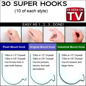 As Seen on TV - Super Hooks Heavy Duty Wall Hanger 30 Piece Set
