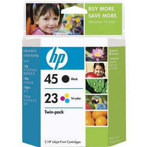 HP 45A / 23D Black and Tri-color Ink Cartridge - Black, Color - Inkjet - 830 Page Black, 640 Page Color