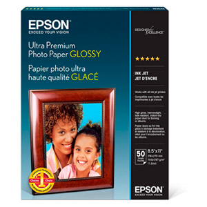"Epson Ultra Premium Photo Paper - Letter - 8.50"" x 11"" - Glossy - Bright White"