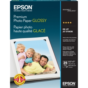 "Epson Premium Photo Paper - Letter - 8.50"" x 11"" - Glossy - Bright White"