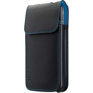 Belkin Verve Carrying Case (Sleeve) for iPhone - Black, Aqua - Scratch Resistant, Scuff Resistant - Leather