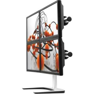 Visidec Freestanding Quad Mounting Arm - Up to 26.5lb - Up to 24&quot; LCD Monitor - Silver - Floor-mountable