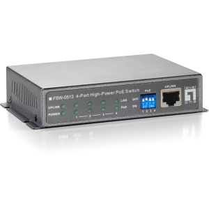 LevelOne FSW-0513 4-Ports Fast Ethernet High Power PoE Switch (120W) - 4 Ports - 4 x POE - 10/100Base-TX