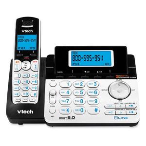 Vtech DS6151 Cordless Phone - DECT - Black, Silver - 2 x Phone Line - Answering Machine - Caller ID - Speakerphone - Backlight