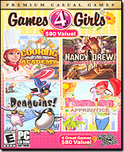 Games 4 Girls (Cooking Academy / Nancy Drew: The Haunted Carousel / Penguins! / Fashion Apprentice)