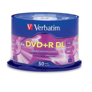 Verbatim 96577 DVD Recordable Media - DVD+R DL - 2.4x - 8.50 GB - 50 Pack Spindle