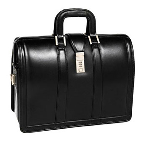 McKleinUSA Morgan V Series 83345 Litigator Laptop Brief - Briefcase - Shoulder Strap, Hand Strap17&quot; Screen Support - 13.75&quot; x 18&quot; x 7&quot; - Leather - Black