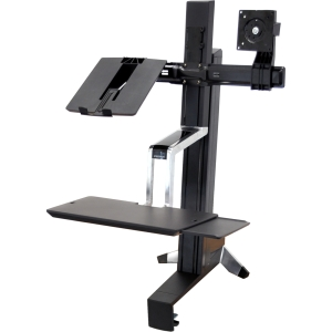 Ergotron WorkFit-S 33-340-200 Display Stand - 31.00 lb Load Capacity - Steel, Plastic, Aluminum - Black