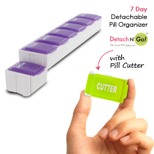 Detach N Go 7 Day Detachable Pill Organizer with Pill Cutter