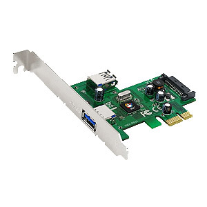 SIIG 2-port PCIe host adapter with 1 external &amp; 1 internal SuperSpeed USB 3.0 ports - 1 x 9-pin Type A Female USB 3.0 USB External, 1 x 9-pin Type A Female USB 3.0 USB Internal - Plug-in Card - Blister