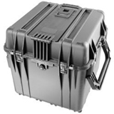 "Pelican 0340 Cube Case with Lid & Foam - Internal Dimensions: 18"" Height x 18"" Width x 18"" Depth - External Dimensions: 20.5"" Height x 20.5"" Width x 19.3"" Depth - Polypropylene, Stainless Steel, ABS Plastic, Copolymer - Black"