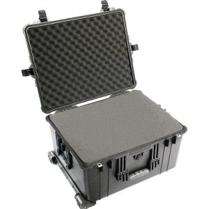"Pelican 1620 Shipping Case with Foam - Internal Dimensions: 12.54"" Height x 21.48"" Width x 16.42"" Depth - External Dimensions: 13.8"" Height x 24.6"" Width x 19.4"" Depth - Copolymer, Polyurethane, Steel - Black"